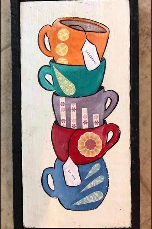 Mixed Media - Stacked Teacups