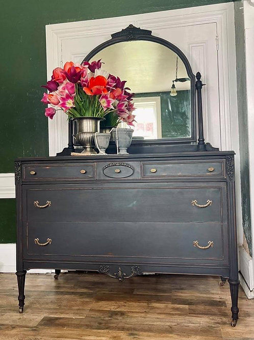 Dresser with Mirror | Athenian Black by Annie Sloan Chalk Paint