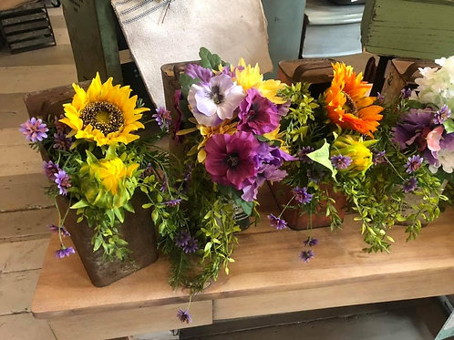 Selection of Vintage Metal Containers with Permanent Florals