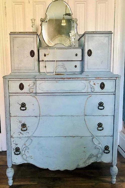 Dresser with Mirror   Shutter Grey by Miss Mustard Seed's Milk Paint