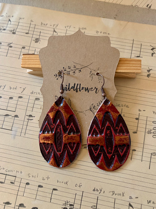 Tooled Leather Earrings
