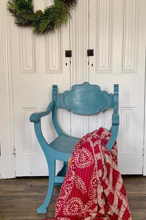 Saddle Chair | French Enamel by Miss Mustard Seed's Milk Paint