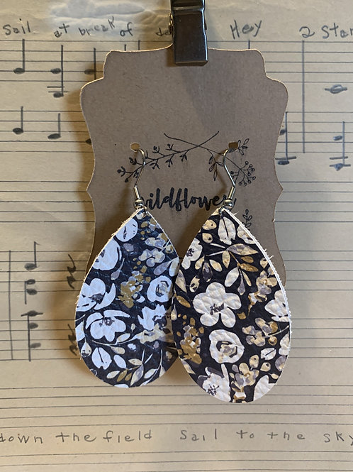 Flower Print Leather Earrings