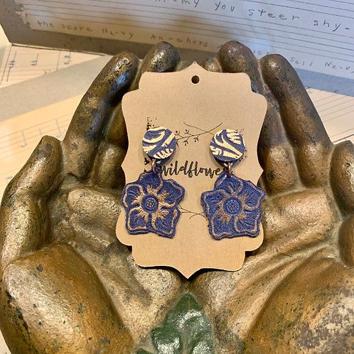 Tooled & Rose Gold Blue Leather Earrings