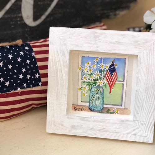 Flag in Mason Jar  | Original Watercolor