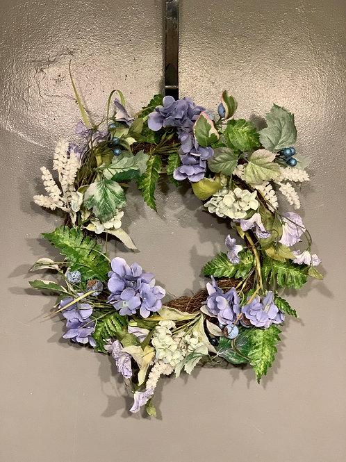 "22"" Grapevine Wreath with Blue Hydrangea"