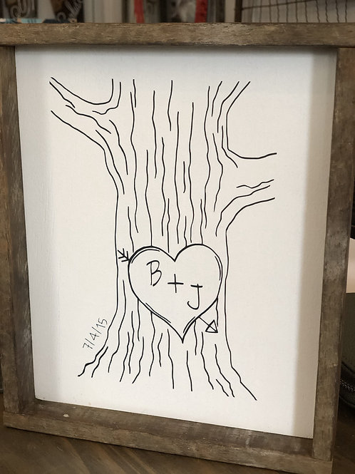 Initials in Heart Tree