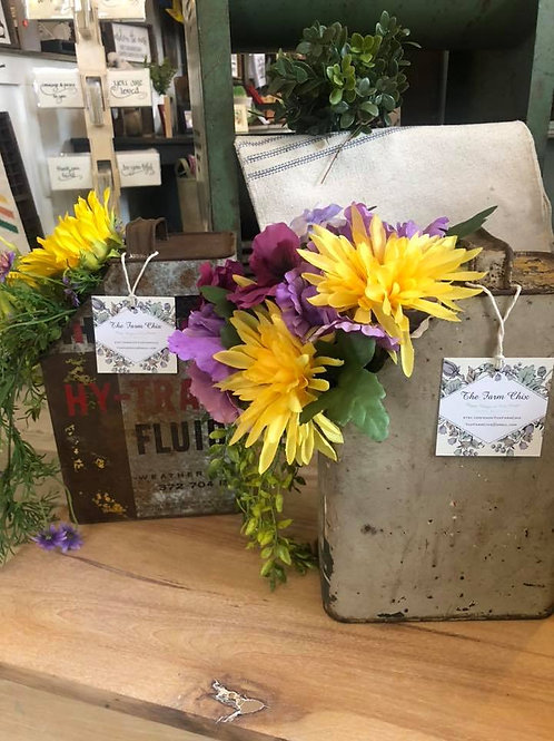 Assorted Vintage Containers with Permanent Florals