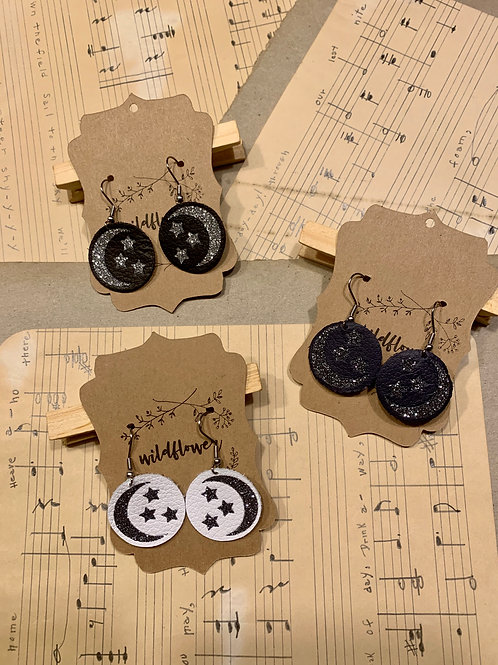 Moon & Stars Leather Dangle Earrings