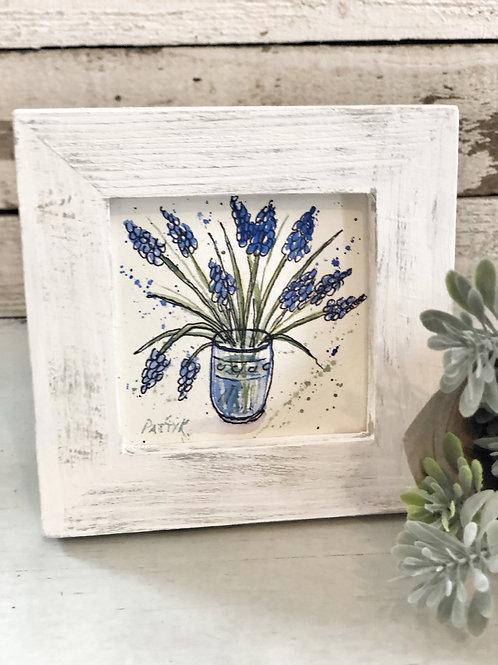 Grape Hyacinth in jar | Original Watercolor