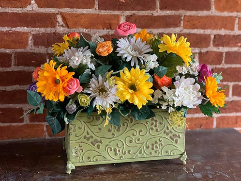 Permanent Flowers in Embossed Tin
