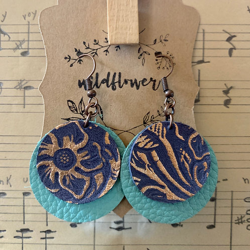 Tooled Rose Gold Blue Leather Earrings