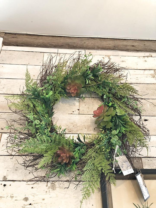 "22"" Grapevine Wreath with Permanent Succulents"