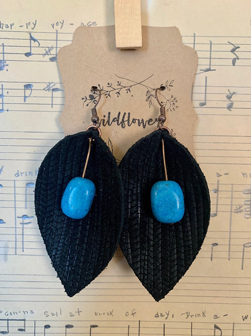 Turquoise & Black Leather Earrings