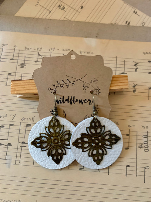 Metal and White Leather Earrings