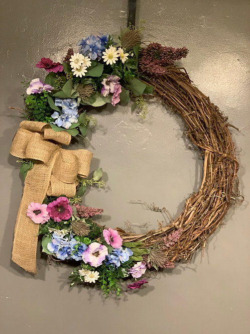 """28"""" Grapevine Wreath with Permanent Flowers & Bow"""