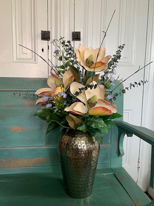Magnolia Permanent Flowers in Ceramic Container