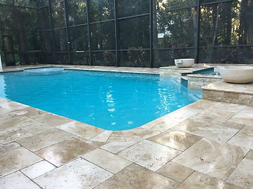 pebble pool finsh and aspendos travertine pool deck