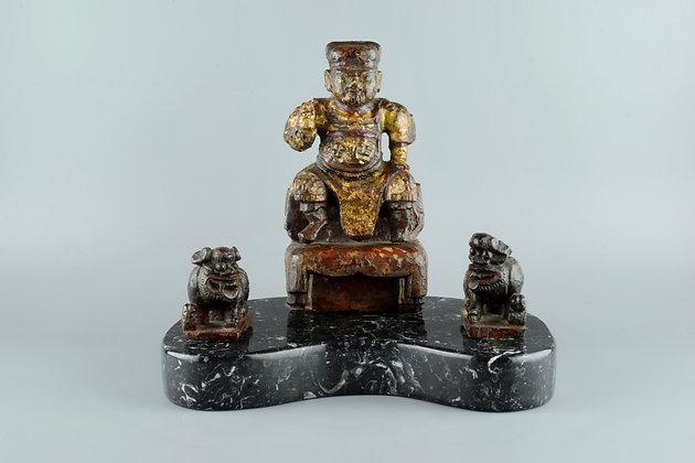 Buddha con coppia di cani di fo