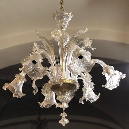 Lampadario a 6 luci in vetro di Murano