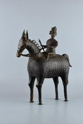 Cavallo con cavaliere in bronzo
