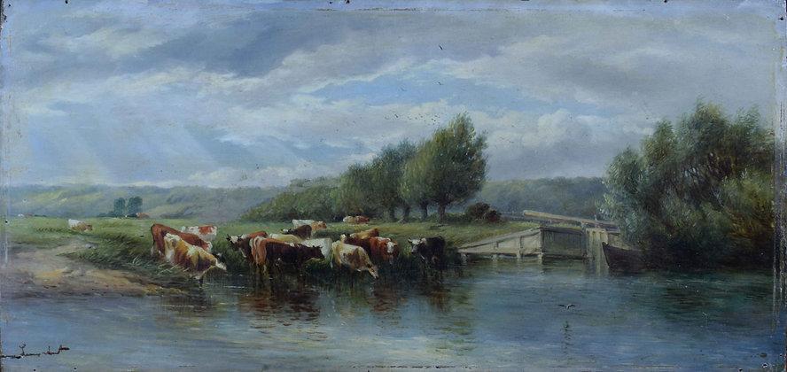 Paesaggio olio su tavola