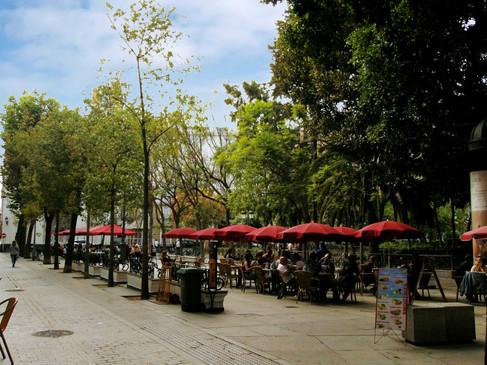 Terrazas de la plaza de Mina, en donde Javier queda con Mario Guerra.