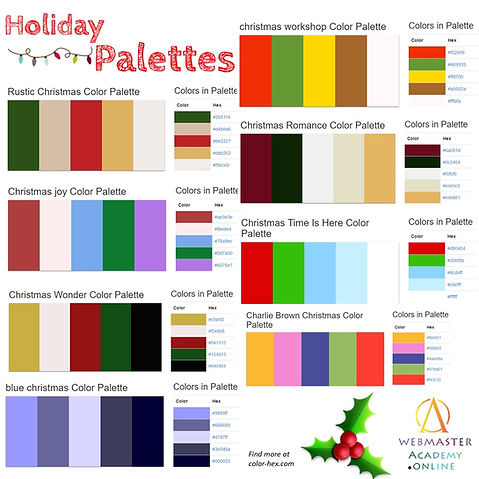 Christmas Colors Palette.December Holiday Color Palettes
