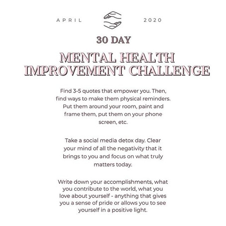30 Day Mental Health Improvement Challenge