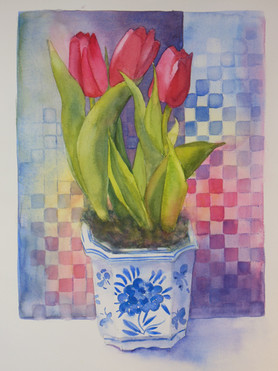Tulips With Checkerboard