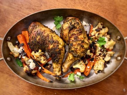 Recipe: Smoky Chermoula Chicken with Roasted Carrots, Cauliflower and Feta