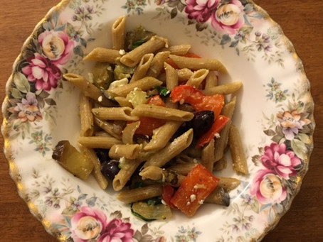 Recipe: Mediterranean Pasta Salad with Eggplant, Roasted Red Pepper, Olives, and Feta
