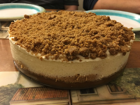Recipe: Speculoos Swirl Cheesecake with Vanilla Bean Mousse and a Butterscotch Cookie Butter Crumble