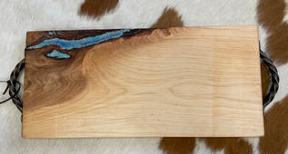 """""""Small cutting board with bronze handles and blue epoxy"""" by Jeanette Pierce"""