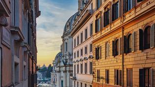 """Sunset on the Via Magnanapoli"" by Bert Parham"