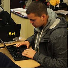 Art - Student researching on a laptop
