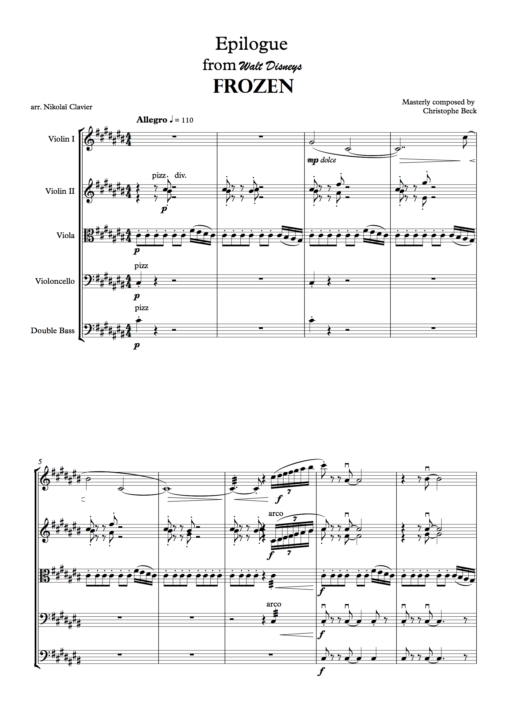 Epilogue from FROZEN for string orchestra (score and parts) (dragged)