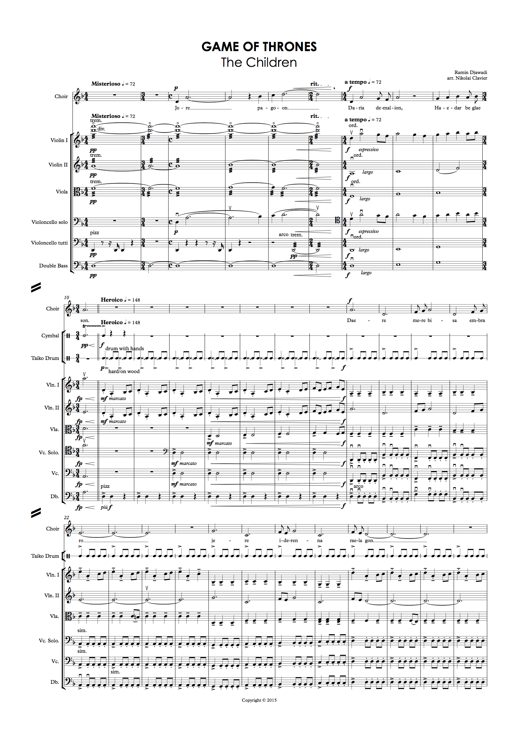 Game of Thrones - the Children (Score and Parts) (dragged)