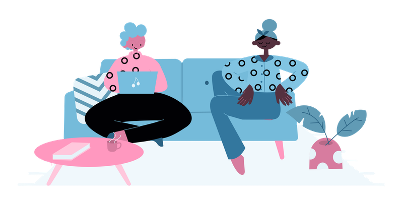 Illustration of two friends in jumpers, sitting on a couch.