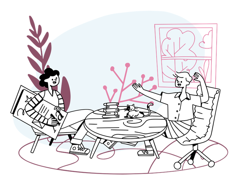 Illustration of two people discussing ideas at a coffee table.
