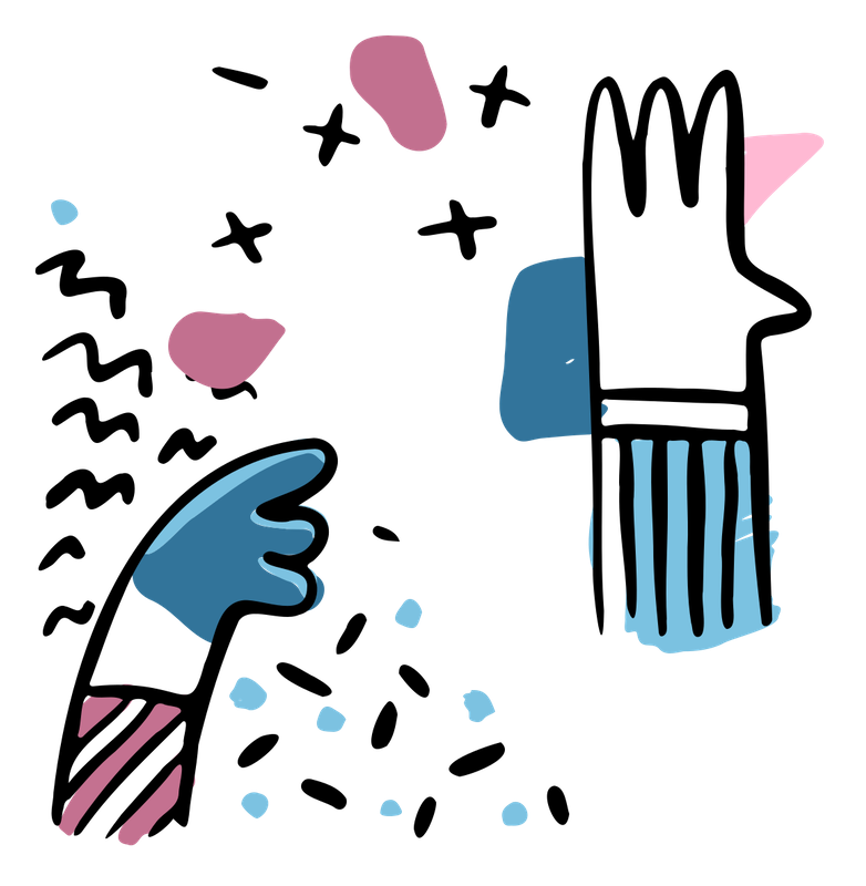 Illustration of colourful hands
