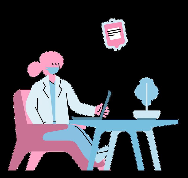 Illustration of a nurse on her laptop
