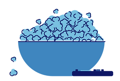 Illustration of a bowl of popcorn, and a remote control