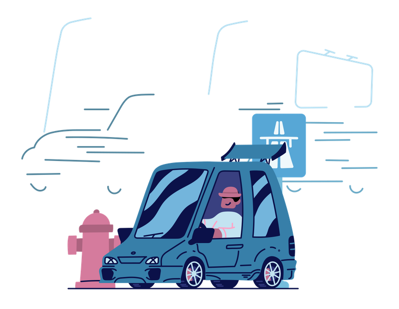 Illustration of a man driving a car, on his way to a destination