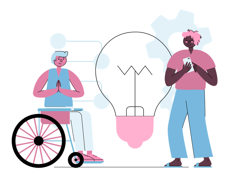 Illustration of a woman in a wheelchair, chatting to a man holding his phone.