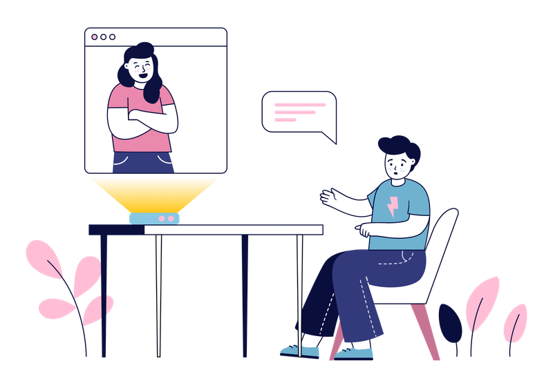 Illustration of two friend video calling.