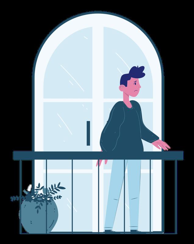 Illustration of man standing on balcony