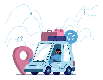 Illustration of a man driving a car with luggage on top.