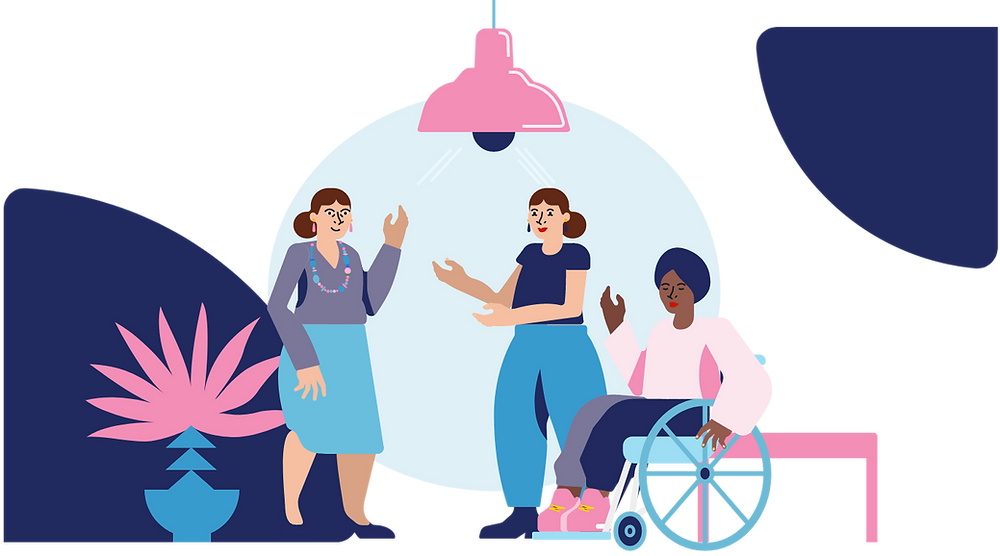 Illustration of three happy ladies chatting to each other. One is sitting in a wheelchair.