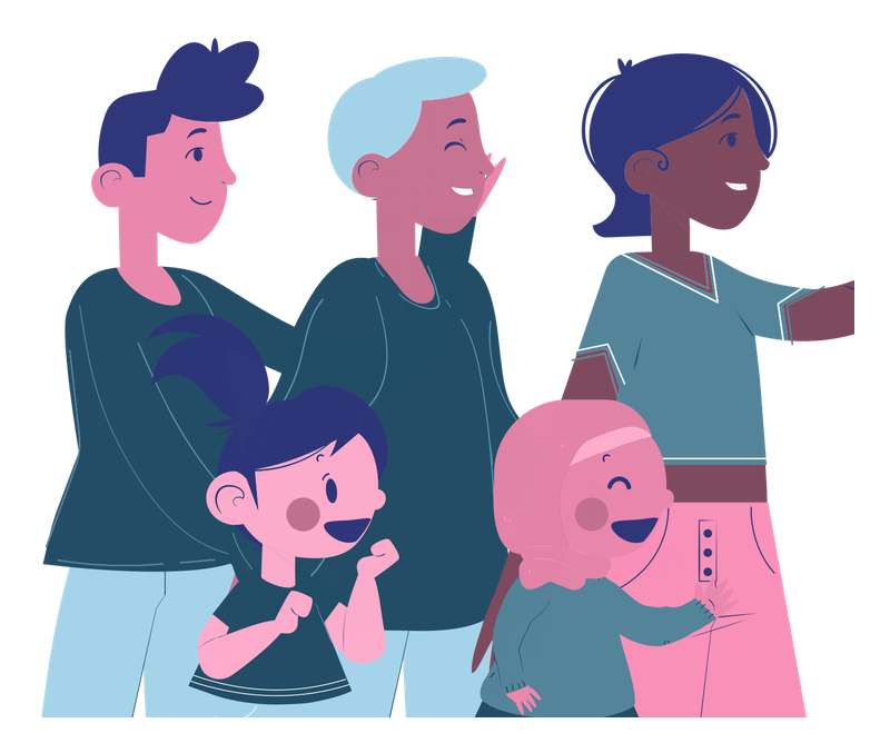 Illustration of three adults and two kids.